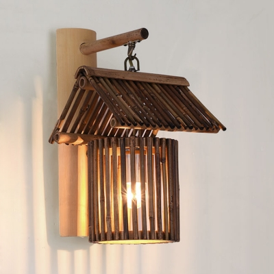 Bamboo Lodge Hanging Wall Sconce for Restaurant Cafe bar Rustic Style 1 Light Wall Lamp in Brown