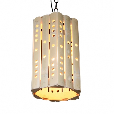 Vintage Style Cylinder Pendant Light Bamboo Single Light Beige Ceiling Fixture for Kitchen Dining Room