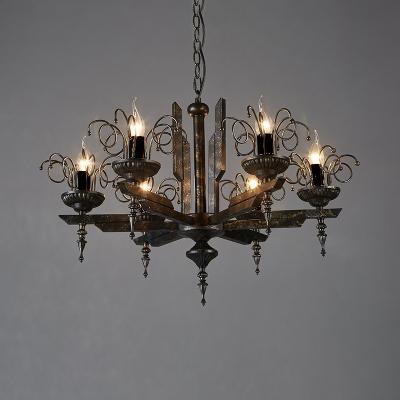 6 Lights Candle Shape Chandelier Vintage Metal Chandelier Lighting for Living Room