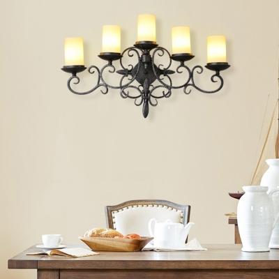 Antique Style Black Sconce Light Cylinder Candle Shape 5 Lights Metal Sconce Light for Bedroom Stair