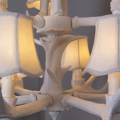 Antlers Decoration Pendant Light with Tapered Shade 3/4/5 Lights Antique Style Chandelier for Bedroom