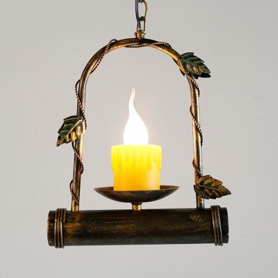 Candle Shape Hanging Light Single Light Vintage Metal Pendant Light in Bronze