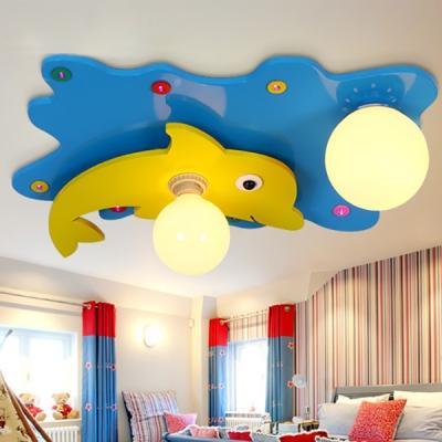 Cartoon Dolphin Decoration Ceiling Light Lovely Globe Shade Glass Metal Flush Mount Light for Girl Boy Room