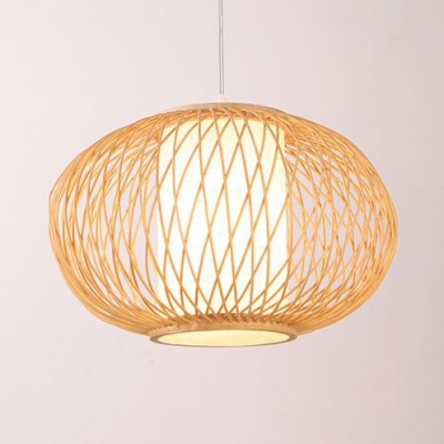 Dining Room Oval Ceiling Fixture Bamboo Antique Style Beige Ceiling Fixture for Kitchen Dining Room