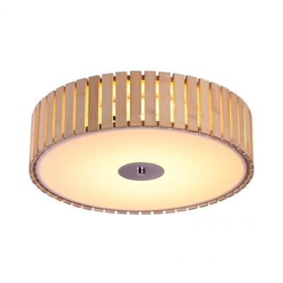 Dining Room Round Flush Mount Ceiling Light Wood and Acrylic Modern Beige Flush Ceiling Light