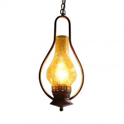 Gourd Pendant Lighting Single Light Glass Hanging Light for Dinging Room in Gold/Copper, HL515954