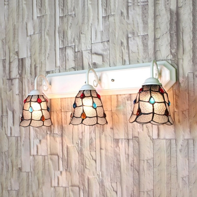 Hammered Glass Bell Wall Sconce 3 Lights Tiffany Style Sconce Light with Jewelry for Bedroom HL523064 фото