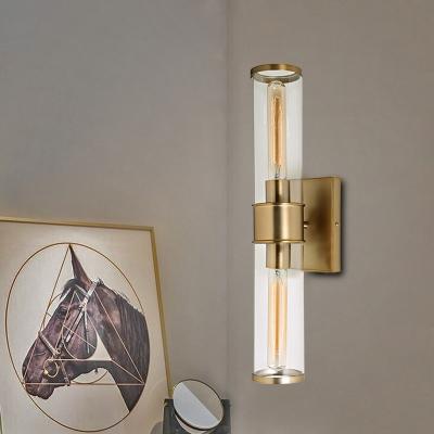 Kitchen Foyer Cylinder Wall Light Metal Clear Glass 2 Lights Classic Brass/Chrome Wall Lamp