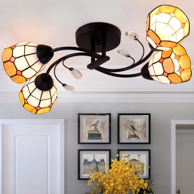 Mediterranean Style Cone Semi Flush Light 4 Lights Glass Ceiling Light in Blue/Yellow