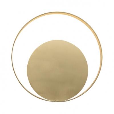 Round Sconce Light Postmodern Metal Wall Light in White/Warm White for Living Room