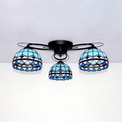 Rustic Dome Semi Flush Ceiling Light Glass 3 Lights Overhead Light for Restaurant Hotel