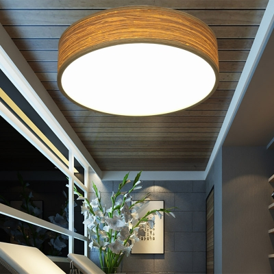Rustic Style Drum Shape Ceiling Light Fixture Wood and Acrylic LED Flush Mount Ceiling Fixture for Living Room