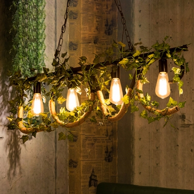 Rustic Style Love Shape Island Light with Flower Decoration 4 Lights Metal and Rope Hanging Light for Living Room