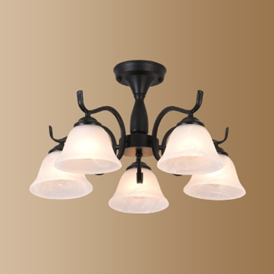 Simple Style Bell Semi Ceiling Mount Light Frosted Glass 3/5/6 Lights Black Ceiling Lamp for Hotel