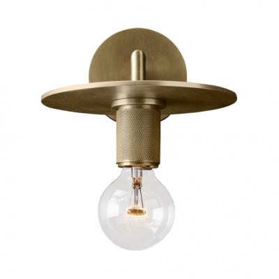 Single Light Open Bulb Wall Sconce Vintage Style Metal Sconce Light in Brass/Chrome/Black for Foyer