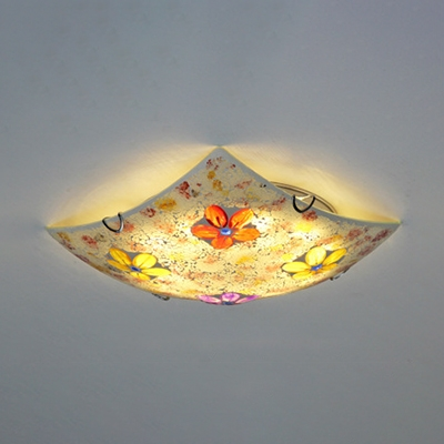 Square Ceiling Mount Light Rustic Style Stained Glass Ceiling Light in Purple/Pink for Bedroom