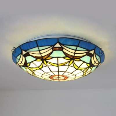 Stained Glass Dome Ceiling Lamp Dining Room Tiffany Style Rustic Flush Light