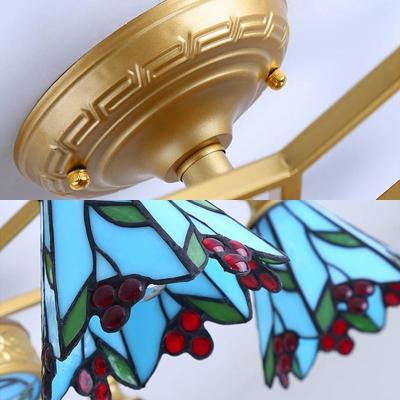 Stained Glass Flower Semi Flush Light Living Room 4/6/7 Lights Tiffany Style Ceiling Light