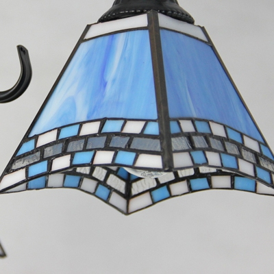 Stained Glass Semi Flush Mount Light Tiffany Style Tapered Ceiling Light for Restaurant