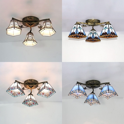 Semi Flush Mount Light 3 Lights Tiffany