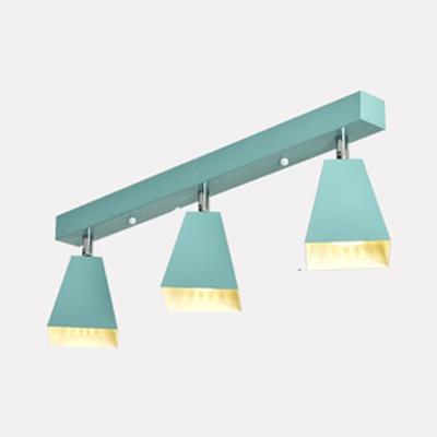 Study Room Trapezoid Ceiling Light Metal 3 Lights Modern Green/White Rotatable LED Track Lighting