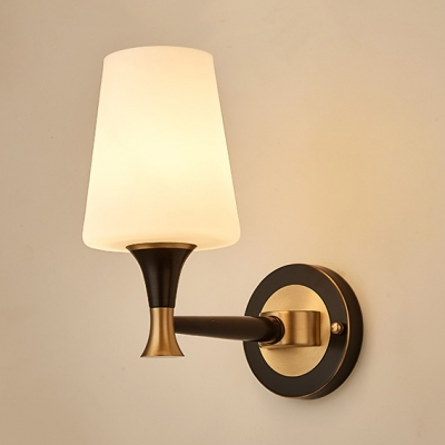 Tapered Shade Living Room Sconce Light Gl 1 2 Lights Antique Style
