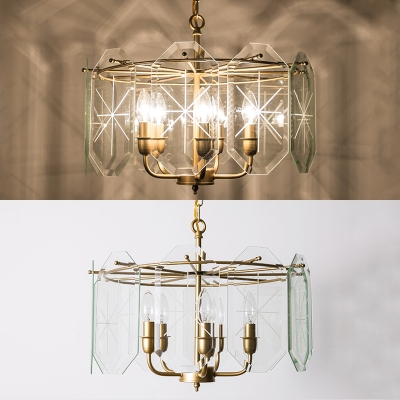 Temporary Gold Candle Pendant Lighting with Clear Glass Shade 5 Lights Metal Chandelier for Bedroom Hallway