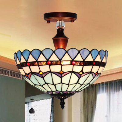 Tiffany Style Nautical Bowl Ceiling Light 3/4 Lights Stained Glass Semi Flush Light for Bedroom