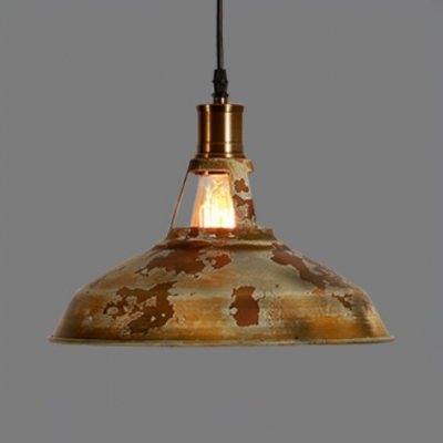 Truncated Cone Shade Pendant Light with Hanging Cord Metal Farmhouse Suspended Lamp in Rust