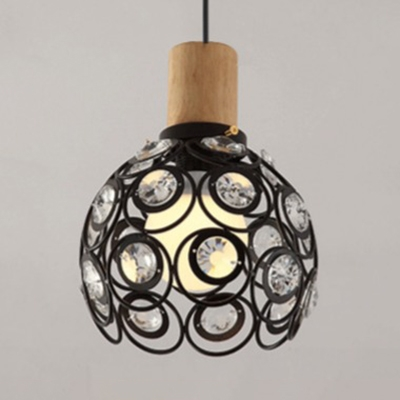 Vintage Dome Pendant Lighting with Clear Crystal Metal Hanging Light in Black/White