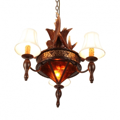 Vintage Style Chandelier with Deer Horn and White Tapered Shade 3 Lights Resin and Metal Pendant Light