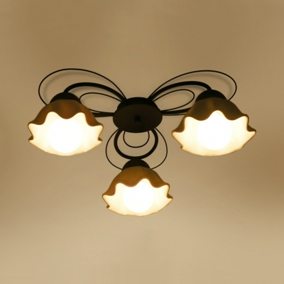 White Flower Shade Semi Flush Mount Light 3/5/6 Lights Contemporary Metal Light Fixture for Bedroom Dining Room