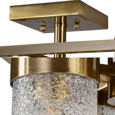 4 Lights Cylinder Shape Ceiling Light Industrial Metal and Dimpled Glass Semi Flush Ceiling Light for Bedroom Dining Room