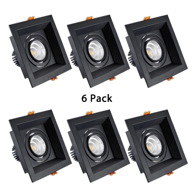 (6 Pack)5/10W Square Light Fixture Recessed with Heat Sink Wireless Single Head Recessed Light in Warm/White