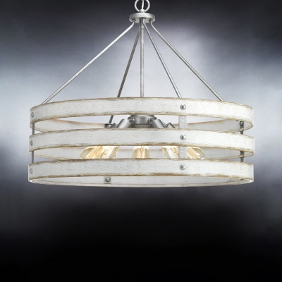 5 Lights Drum Pendant Light with White Wooden Shade and Adjustable Chain Farmhouse Galvanized Ceiling Lamp