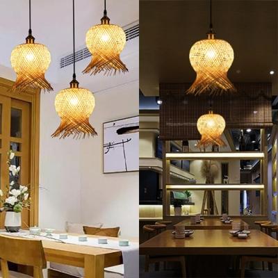 Coffee Shop Lantern Ceiling Light Rattan Antique Style Single Light Pendant Light in Beige