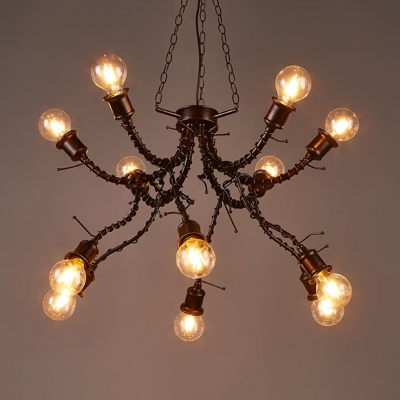 Antique Chandelier Lighting Metal 12 Lights Bronze Pendant Chandelier for Dining Room