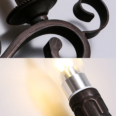 Antique Style Candle Shape Sconce Lamp Metal 4 Lights Wall Lamp for Bedroom Living Room