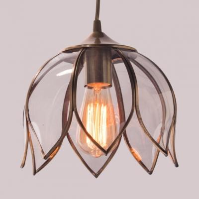 Bedroom Dining Room Lotus Pendant Light Metal Clear Glass 1 Light Vintage Style Ceiling Light