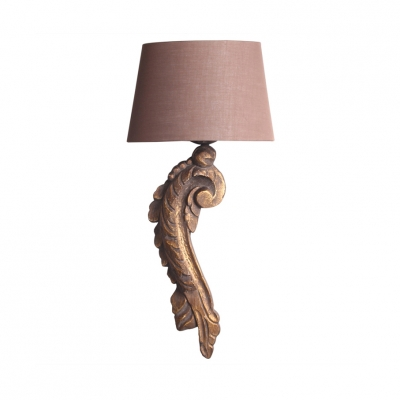 Bedroom Villa Tapered Shade Wall Light Fabric and Wood 1 Light Vintage Style Wall Sconce with Fish Lamp Body