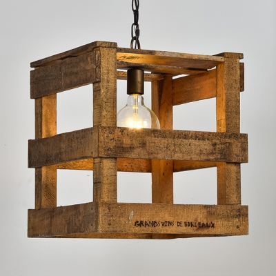 Beige Square Cage Hanging Light 1 Rustic Style Wood Ceiling