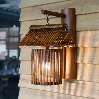 Bronze/Wood House Shape Sconce Wall Light Single Light Vintage Style Bamboo Wall Light for Dining Room