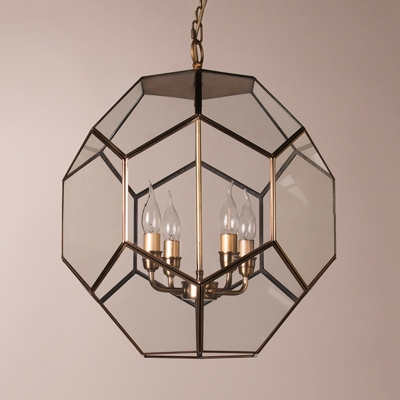 Candle Shape Restaurant Suspension Lamp Metal and Glass 4 Lights Vintage Style Pendant Chandelier in Gold