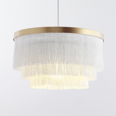 Circle Hanging Light Single Light Rustic Tassel Chandelier for Dining Room Bedroom