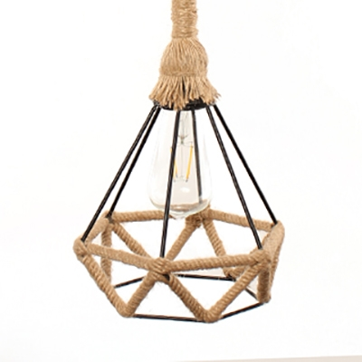 Diamond Shape Indoor Ceiling Light Metal and Rope Single Light Vintage Style Pendant Light in Beige