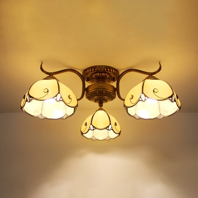 Dome Mall Semi Flush Mount Light Yellow/Clear Glass Antique Style Overhead Light