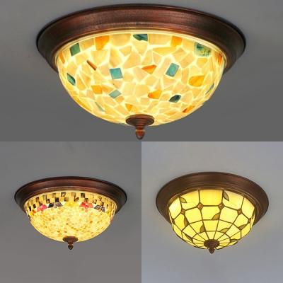 Dome Shade Restaurant Flush Mount Light Glass Shell 1 Light Rustic Style Ceiling Lamp