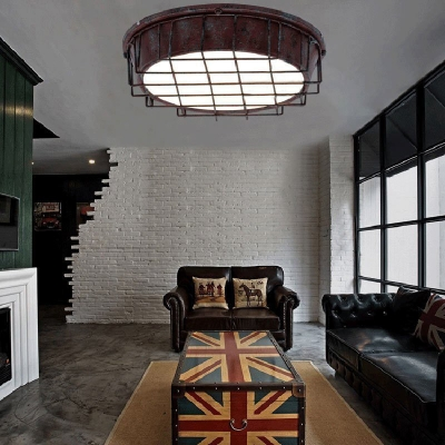 Drum Flush Mount with Metal Cage and Acrylic Shade 1 Light Industrial Ceiling Flush Light in Rust