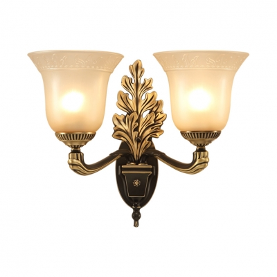 Engraving Arm Bell Shade Wall Sconce Kitchen Bathroom 1/2 Lights Antique Style Sconce Light with Leaf Body