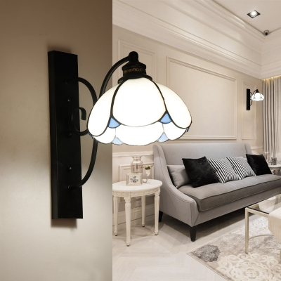 European Style Dome Wall Light Blue/White/Clear Glass 1 Light Ceiling Sconce for Hallway